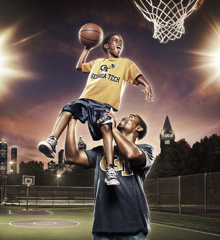 To create this image we used pieces of 11 different images. Plus a little ode to Michael Jordan with the kid's tongue!