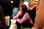 Patricia Heaton in between takes on the set of Everybody Loves Raymond