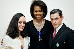 Michelle Obama with Isabel and Ruben Toledo at a NYC fundraiser