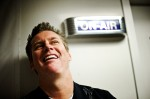 Comedian Brian Regan backstage, before going on the