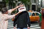 Comedian Brian Regan tapes a commercial for the New York Comedy Festival.