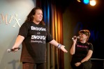 Rosie O'Donnell surprises the audience during Roseanne Barr's performance at Comix in NYC.