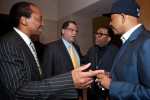 Russell Simmons and Spike Lee talk with 2010 World Cup President Danny Jordaan and Patrice Motsepe at an event celebrating the World Cup in South Africa