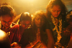 Transsexuals pray during the symbolic marriage ceremonyto the god Aravan in in the Tamil Nadu state of  India.