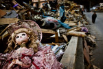 A doll sits in debris in town devastated by tsunami in Otsuchi, Iwate prefecture, Japan, 2011.