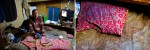 LEFT: Hiromi Minakami, 70, lives in a tiny room paid by welfare January,2009 in Osaka, Japan. RIGHT: A pillow of Hiromi Minakami, 70, who lives in a tiny room paid by welfare, is seen January, 2009 in Osaka, Japan.