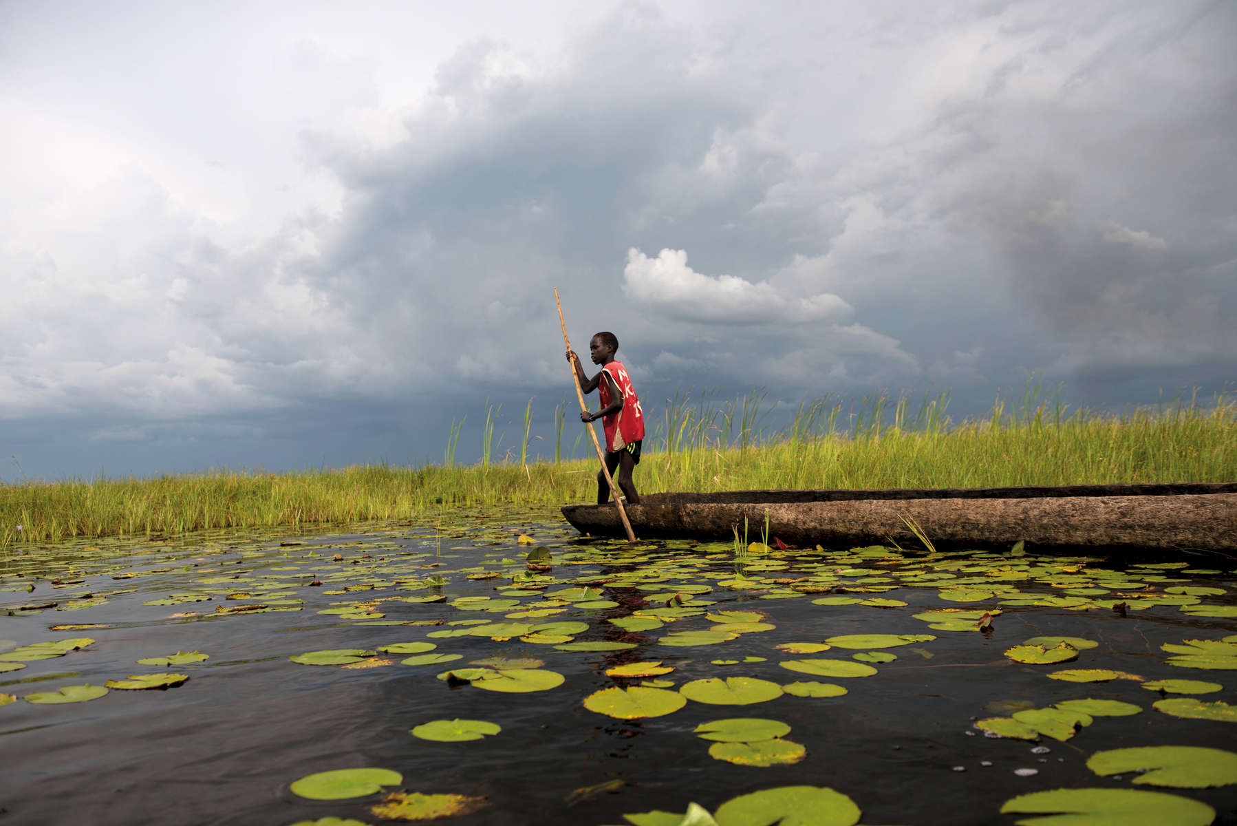 Chuol escaped into a vast swamp in South Sudan when fighters swept into his village,September 2015.201