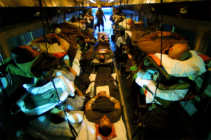 United States wounded soldiers are transported from the Contingency Air medical Staging Facility, or the CASF, where soldiers who are not in intensive care stay, via school bus to the plane headed out to Germany for further treatment. Since the fight for Fallujah began in early November, hundreds of injured soldiers have streamed through the balad hospital. November 2004