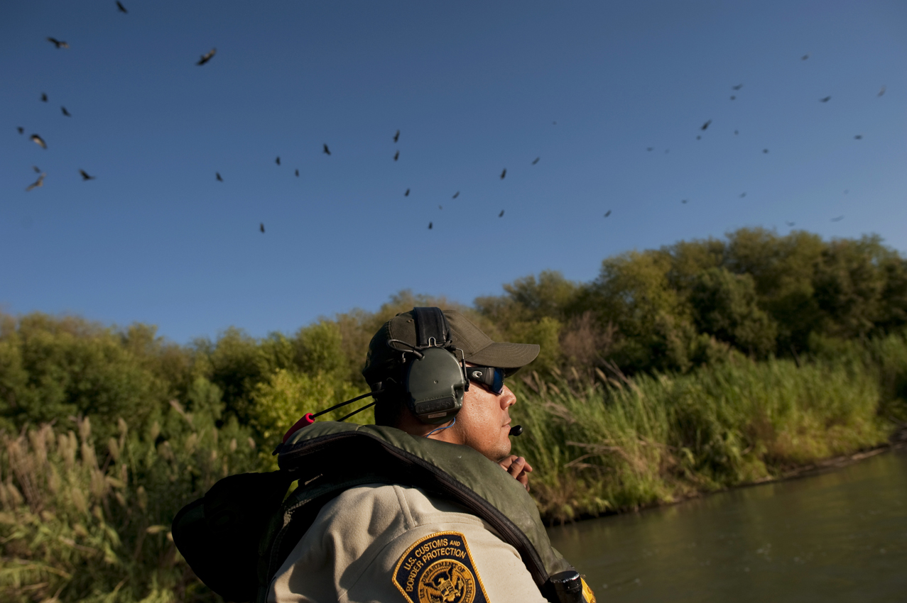 Customs and Border control agents patrol the Rio Grande River between the banks of Mexico and the United States in Laredo, Texas, September 13, 2011.