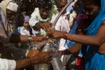 A Water tanker, was hired by the organizers of a rally in beed city, is mobbed by the Dalit caste and the landless at a demonstration in support of more rights for dalits and landless, including more access to land and water on May 20th 2009.