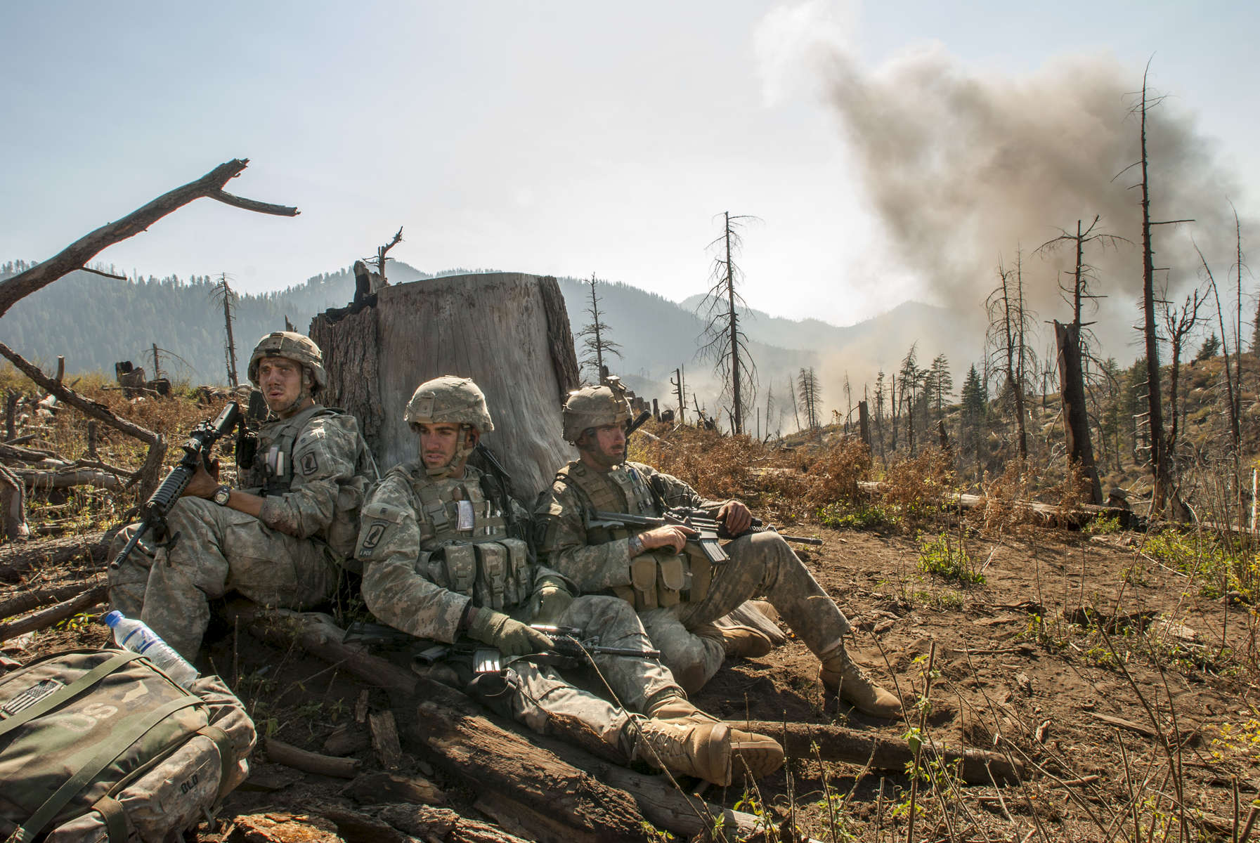 soldiers with the 173rd battle company, on a battalian-wide mission in the korengal valley in the village of yakachina. captain dan kearney overwatches his troops and controls close air support fire from above the village with a group of his soldiers and the jtacssecond part of the mission is on the abascar rideline, looking for caves and weapons caches and known taliban leaders.