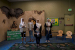 Jumana Mussa, Dana Mussa, Jana Hassan, and Marya Tailakh, Girl Scouts from Troop 3408 in Anaheim, California, perform an anti-bullying skit at a public library. Bullying of Muslim children in the United States is rising largely because of cultural and religious misunderstanding, according to an institute that studies issues affecting Muslims.