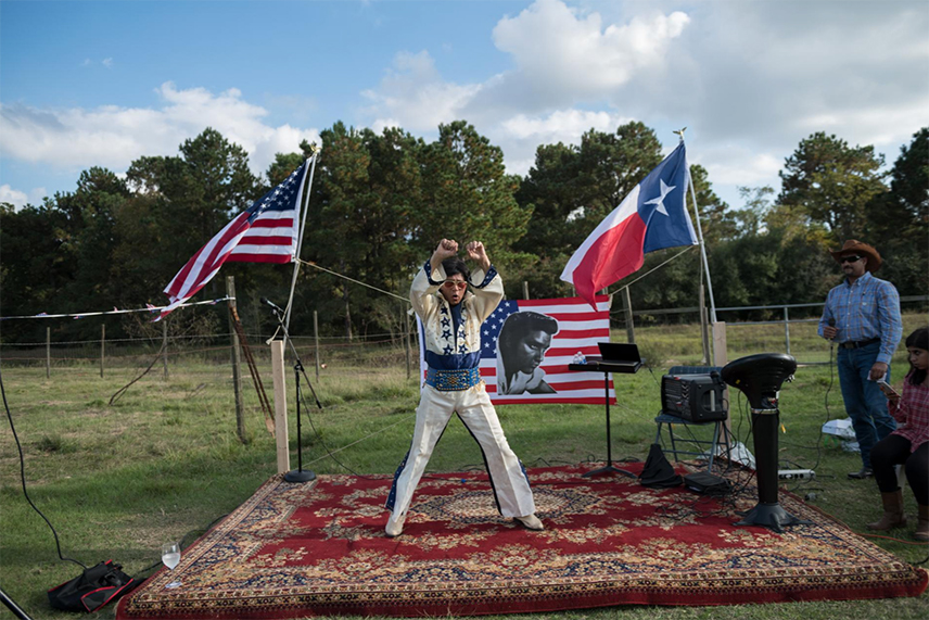 "Airaj Jilani, a retired oil-and-gas project manager from suburban Houston, performs as Elvis Presley. He has been a fan since he was a boy growing up in Pakistan. ""I was the Elvis fan. My brother was the Beatles fan,"" he says. In 1978 he visited Presley's Graceland mansion in Memphis, Tennessee; the following year he moved to Texas."