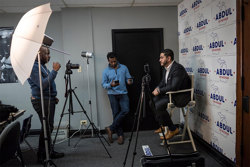 Abdul El-Sayed, a Democratic candidate for governor in Michigan, records videos for his campaign. A doctor and the former Detroit Health Department director, El-Sayed, who is Egyptian American, hopes to become the nation's first Muslim governor.