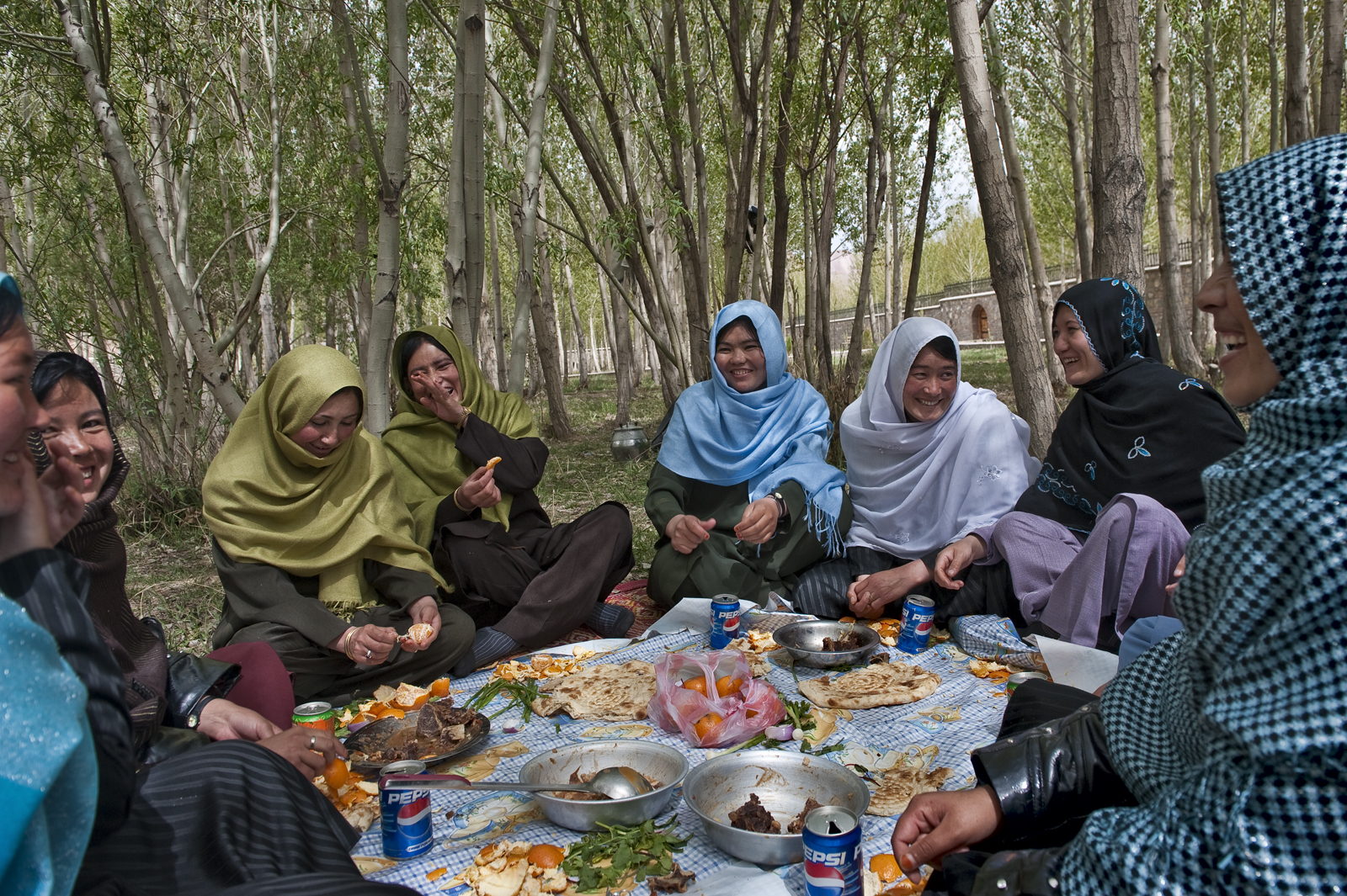 Young women, many of them studying to become teachers, relax in the Women's Garden of a park intended for families outside the city of Bamian. Established by the province's female governor, Habiba Sarabi, the garden provides a place for Afghan women to enjoy the outdoors. These picnickers gather for a typical Afghan feast of flatbread, goat, lamb, and fruit—with a hint of Western flavor in their choice of soda.