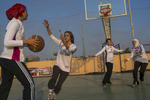 Female players with the Jeddah United basketball team practice at an outdoor court in Jeddah.  Jeddah United is one of few athletic teams for women in the Kingdom, and was founded in 2006. The team now travels and competes around the Kingdom and internationally.