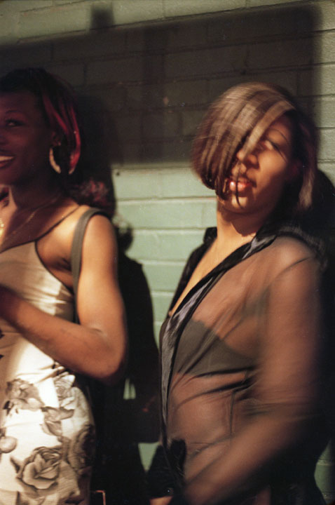 Transgendered prostitutes at work in the West Village's meat-packing district in New York. September 1999.