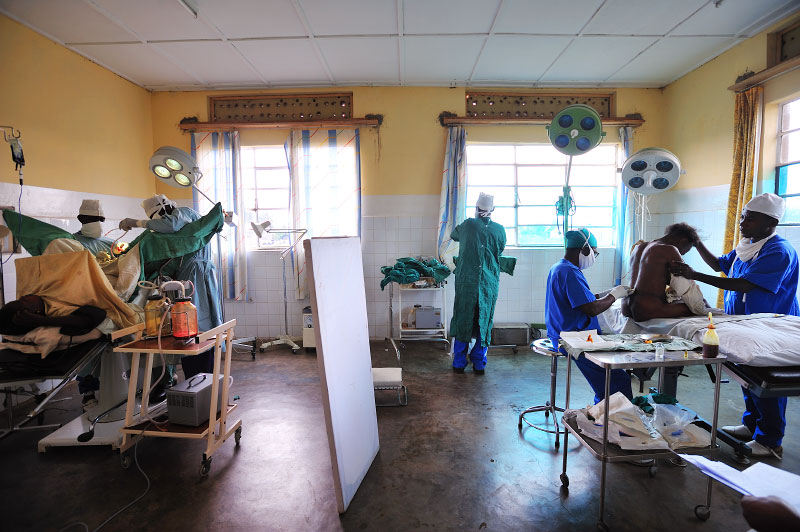 A Congolese woman who was sexually assaulted undergoes a fistula repair, left, at the Keyshero medical center in Goma, North Kivu, in Eastern Congo, April 12, 2008. An average of 400 women per month were estimated to be sexually assualted in the autumn of 2007 in eastern Congo, while in the first months of 2008, the figure dropped to an average of 100 women per month. This said, many women never make it to treatment centers, and are not accounted for in these statistics.