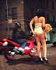 Josie looks for a client in the West Village's meat-packing district in New York, April 1999.