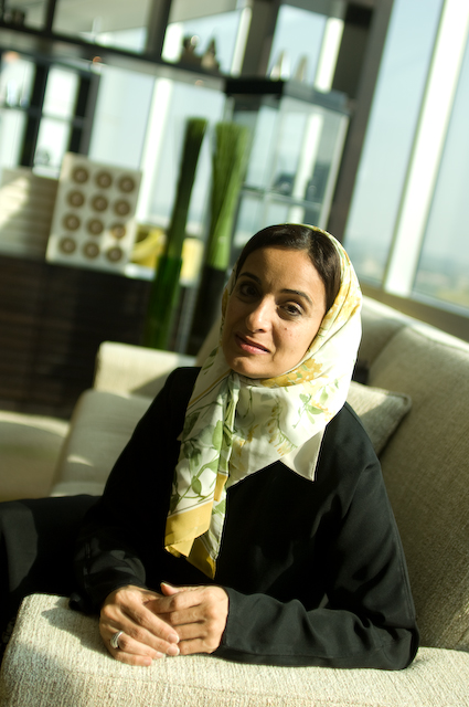 United Arab Emirates Economy Minister, Sheikha Lubna, poses for portraits in the business center lobby of the Emirates Towers hotel in Dubai, UAE, November 15, 2007.