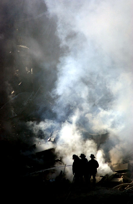 Fires at the Ground Zero smuldered for days, making the rescue and recovery very difficult.