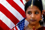 Ishita Paul, 16, of Astoria was representing Bangladesh and United States at Internaitonal Cultural Parade along Madison Ave. in Manhattan.