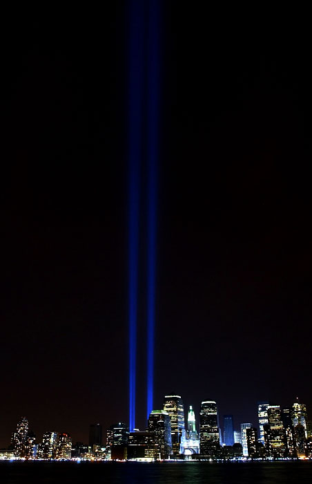Blue beams were lit on the night of the 2nd anniversary of 911 attack.