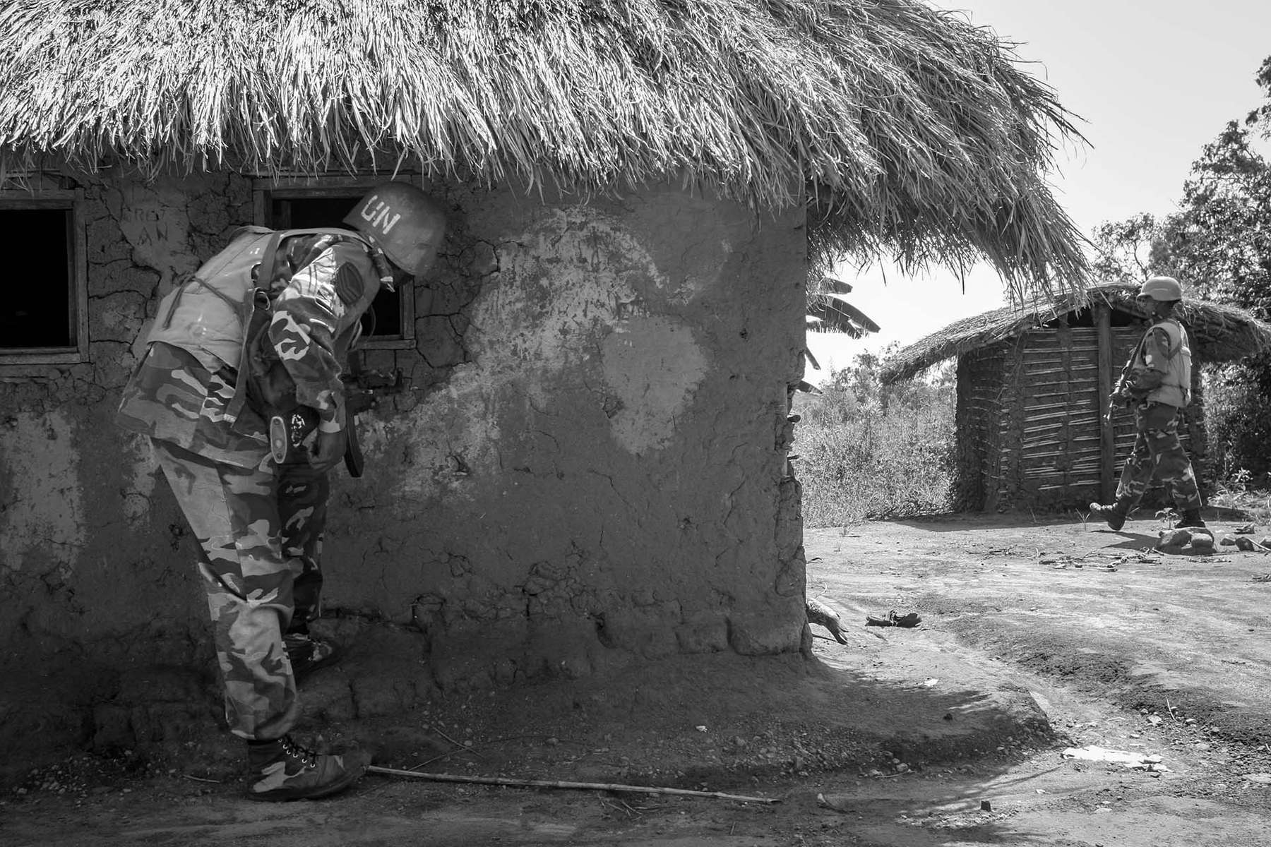 UN peacekeeper from Bangladesh conduct patrol in the village of Kaswara where there was recent fighting between militia and government solders supported by UN.