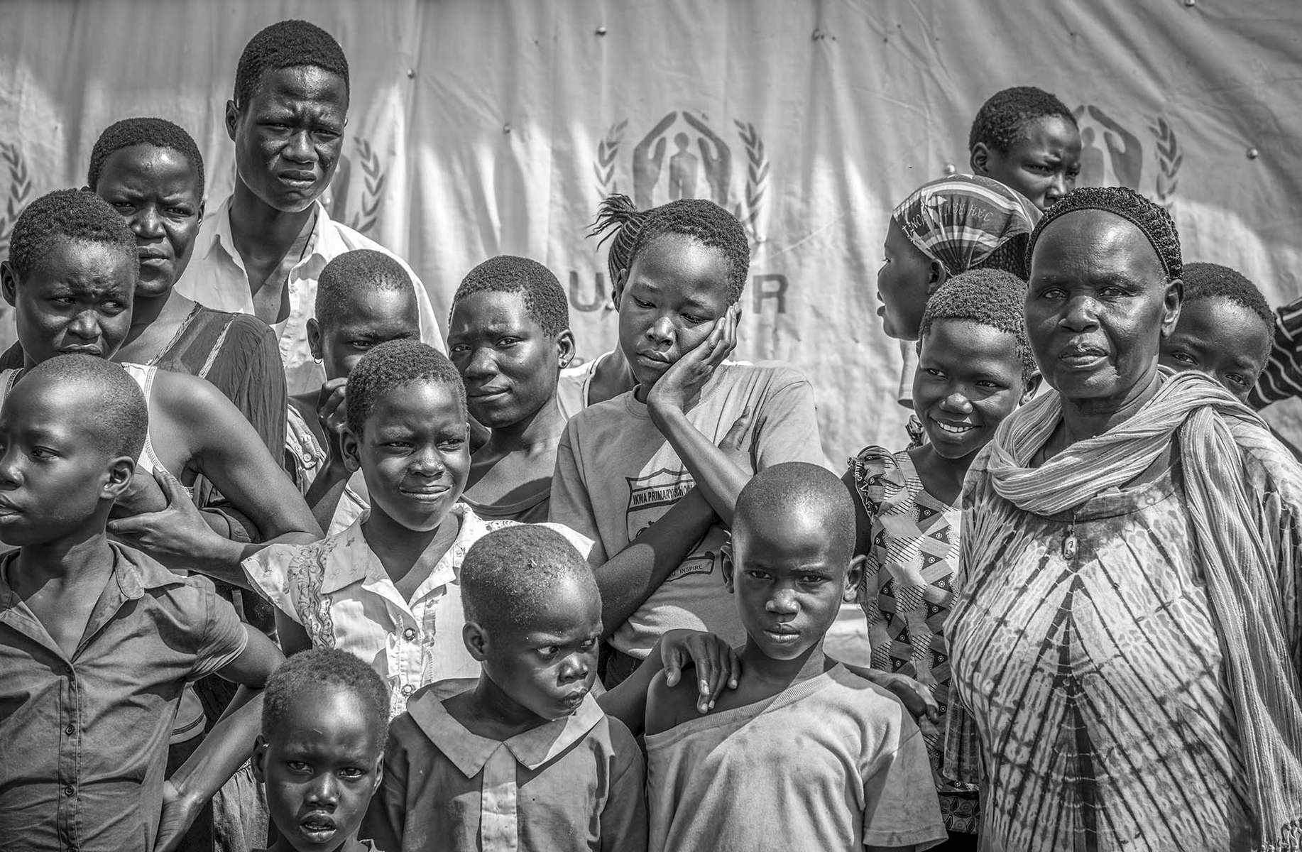 Refugee from South Sudan gather at Nyumanzi Transit Center in Adjumani district of Uganda August 29, 2016. © Jiro Ose