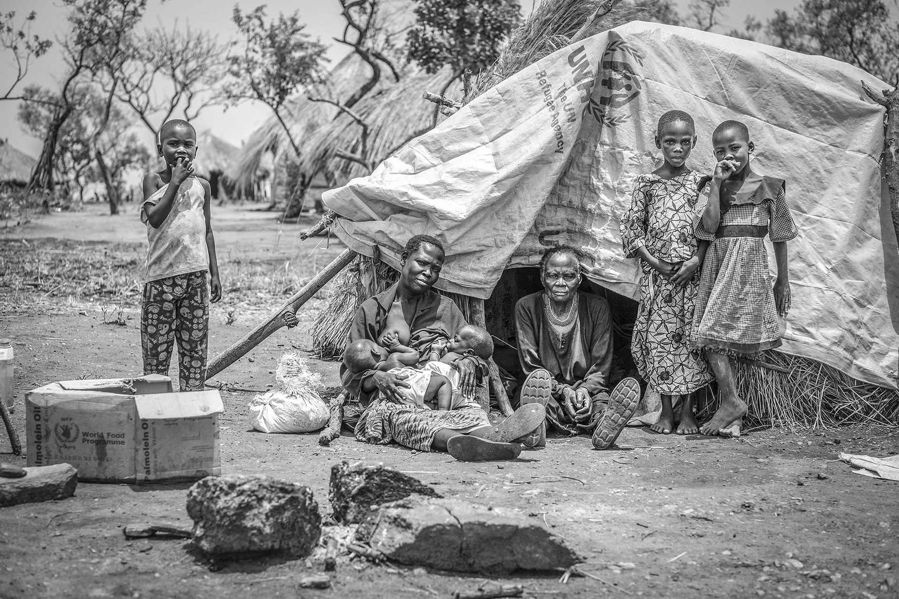 Extended family in Bidibidi refugee settlement in Yumbe district, Northern Uganda 21 March 2017. © Jiro Ose