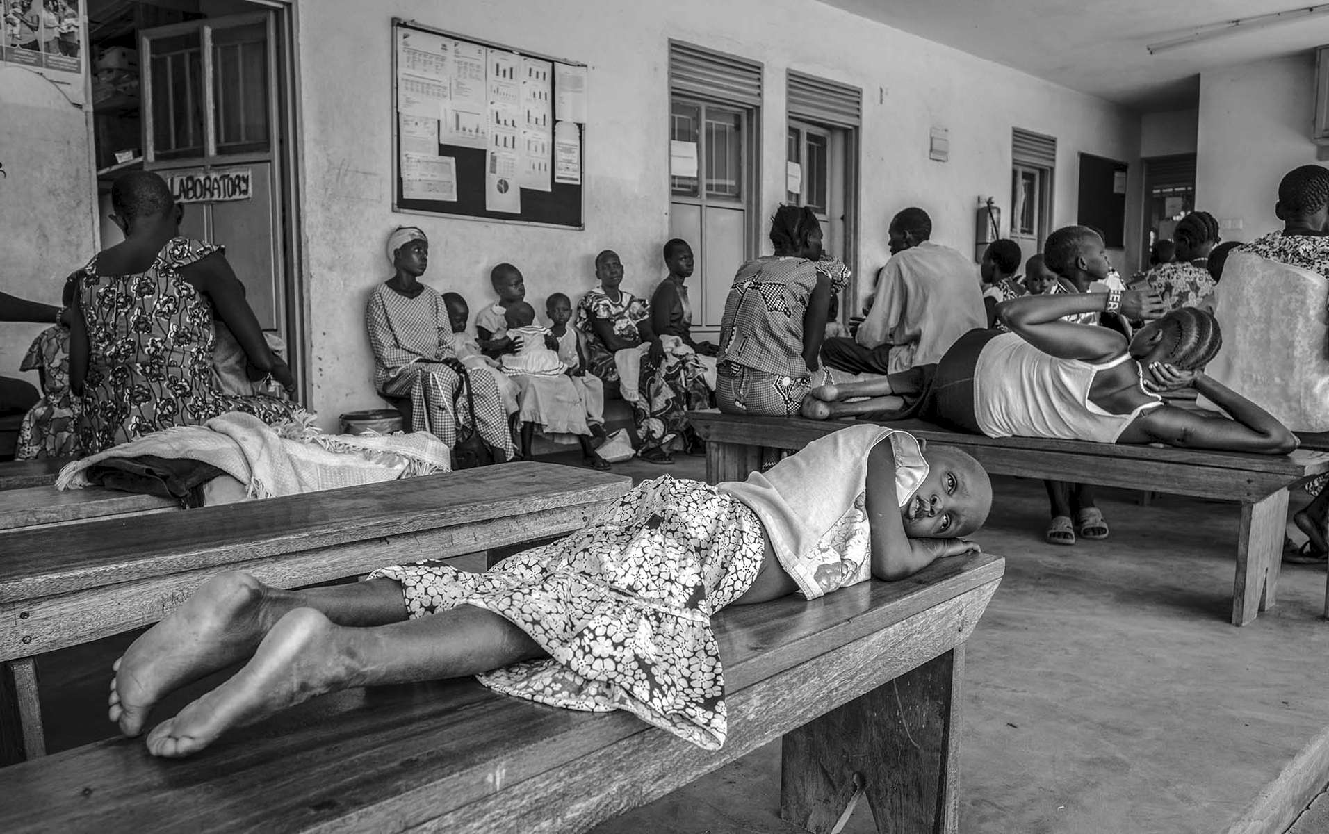 South Sudanese refugees wait for service at a health center in Nyumanzi refugee settlement in Adjumani District of Northern Uganda 3 May 2017. © Jiro Ose