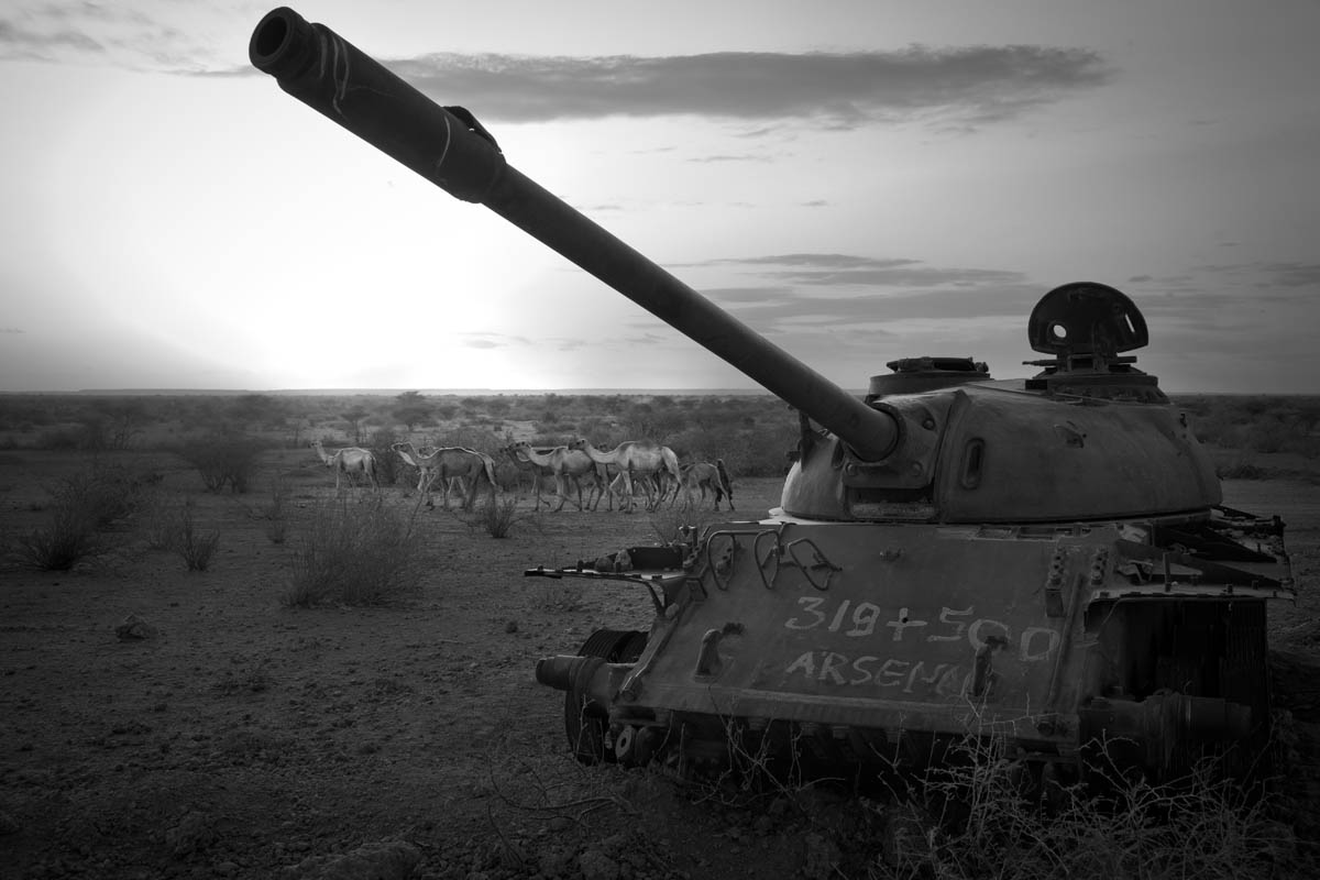 A broken-down Soviet-era tank used by Ethiopian Army to fight Somali militant before their withdrawal in early 1990s became a part of landscape near Kobe Refugee camp in southeastern Ethiopia, a few kilometers from Somalia/Ethiopia border, Wed. 10 August, 2011.