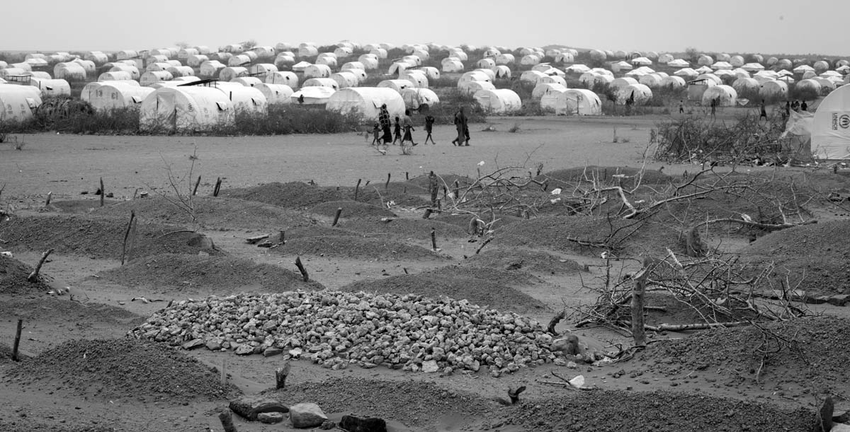 Grave yard at Kobe Refugee Camp in southeastern Ethiopia, a few kilometers from Somalia/Ethiopia border, Wed. 10 August, 2011.