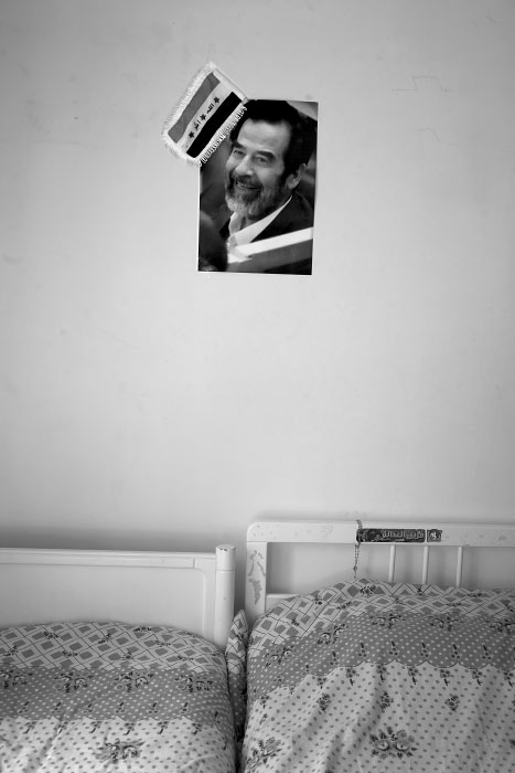 In Amman, Jordan, photo of Saddam Hussein is posted in the bedroom of the young son of Ziad Aziz, son of Tariq Aziz, former Deputy Prime Minister of Iraq and a close advisor of former Saddam Hussein for decades. Tariq Aziz has been held in US since his surrender in April 2003.