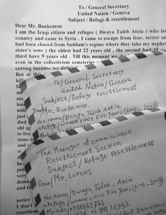 Letters written by Iraqi women in Syria, address to UNHCR, UN refugee agency, pleading for resettlement in other countries. February 24, 2008.