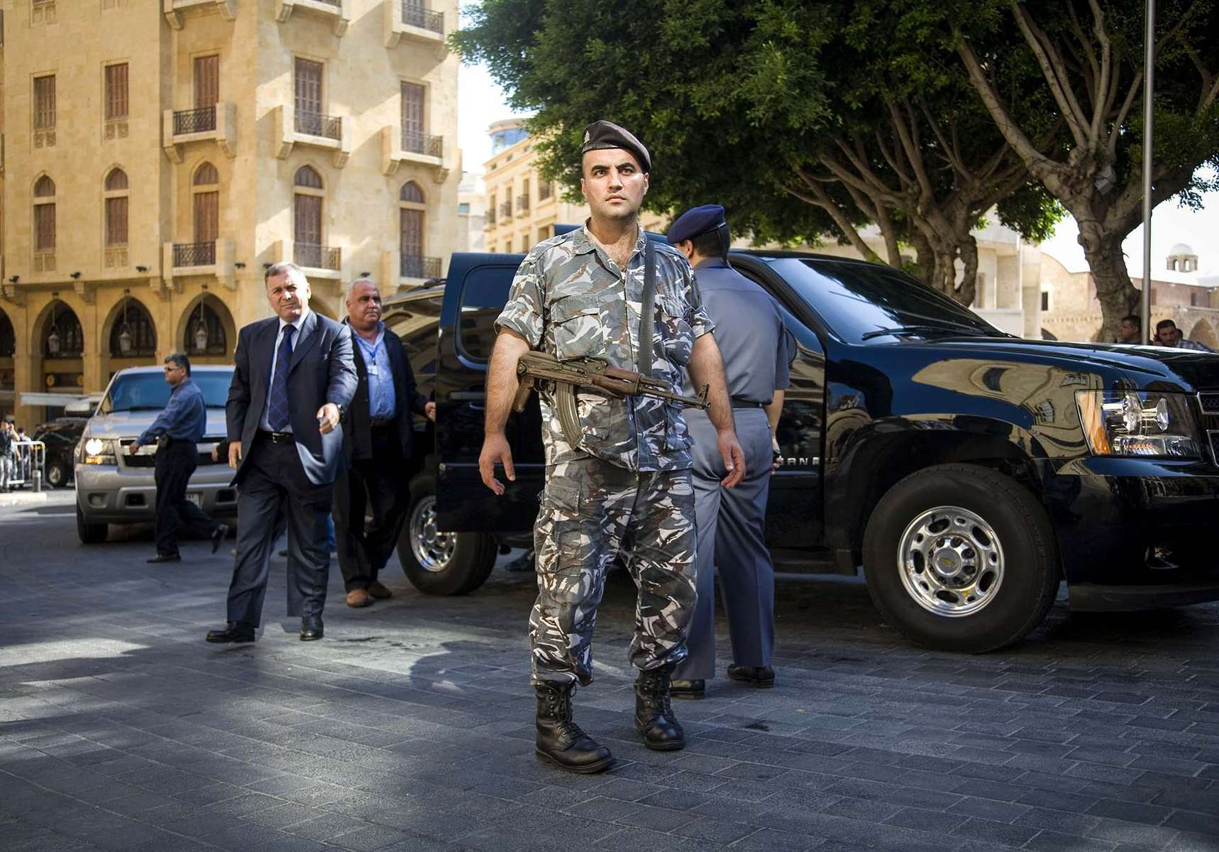 One of the members of Lebanese Parliament arrives at the Parliament in Beirut under heavy security in Tuesday, September 25, 2007. After a brief meeting, they announced the postponement  of a session to elect a new president until next month after the legislature failed to have enough lawmakers to elect the President because of a Hezbollah-led opposition boycott. Fears of another attack against anti-Syrian lawmakers were high after the killing of Antoine Ghanem last week, which fueled the accusation against Syria being behind the political killings which left 5 MPs dead and Rafiq Hariri, Prime Minister.