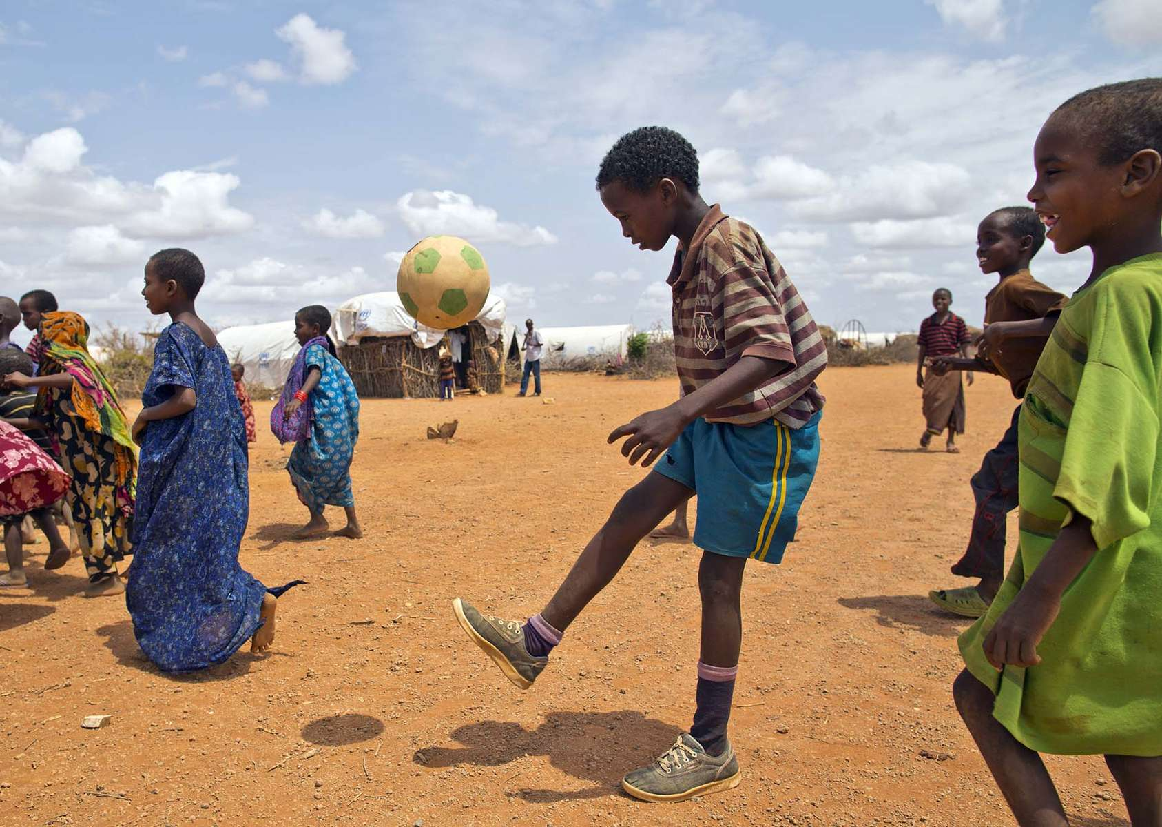 Somali boy works on his footwork at Kobe refugee camp in Ethiopia. Ethiopia/ Somali refugees / J. Ose / June 2012