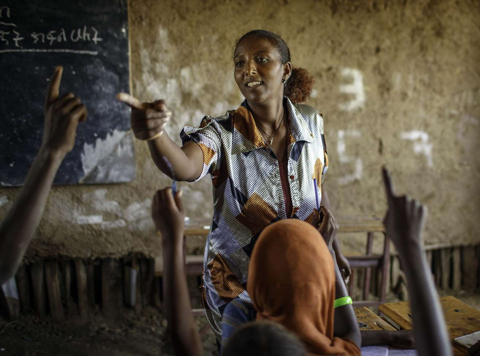 Bizuye Solomon, 26, teaches at Alula ABEC (Alternative Basic Education Center) for children of pastoralist in Afar region of Ethiopia Tuesday 8 April, 2014. Families of the majority of her students are pastoralists and move with greener pasture for their livestock. Thus ABEC, Alternative Basic Education Center is crucial for the education for her and her family.