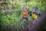 Children play near Kitmbile Health Post in Jimma Zone, Oromia State, Ethiopia 27 August 2013.