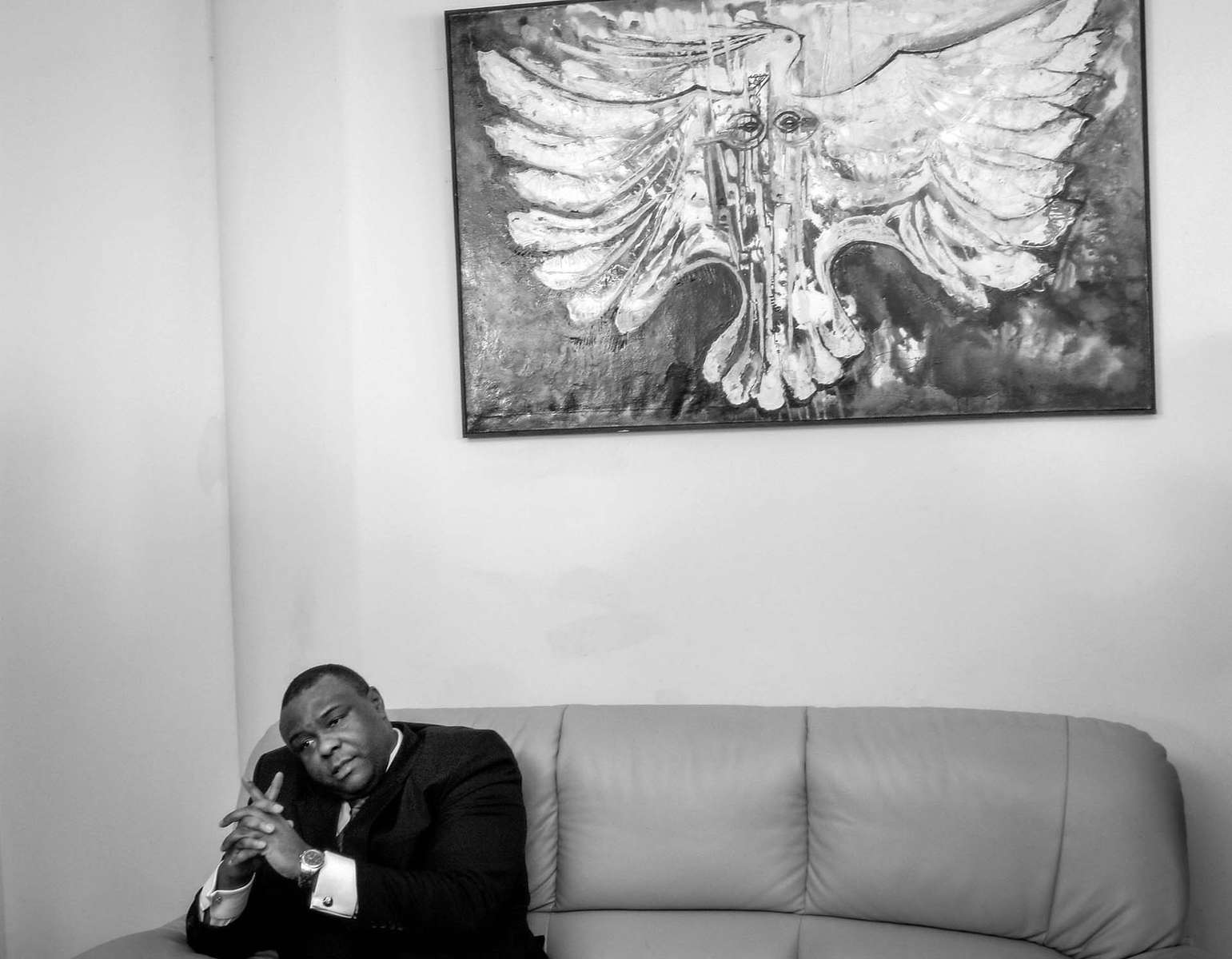 Jean Pierre Bemba, presidential candidate for the Democratic Republic of Congo, speaks to the press at his office in Kinshasa Thursday October 26, 2006.