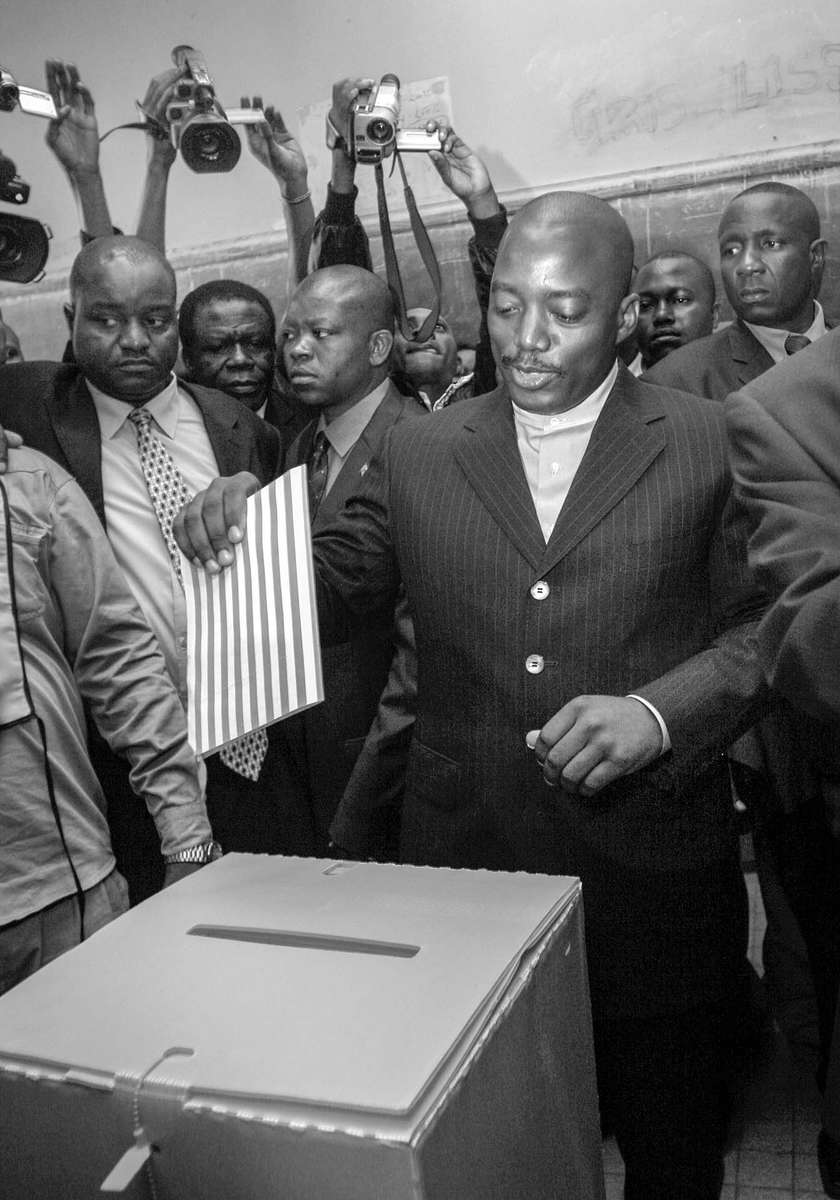 Joseph Kabila, current interim president and front runner for the presidential election, casts his vote in Kinshasa.