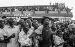 Supporters of Joseph Kabila, presidential candidate, show their support during his visit in Bunia, regional capital of Ituri in eastern DR Congo July 12, 2006.