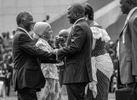 Joseph Kabila, a newly elected president of the Democratic Republic of Congo, is congratulated by Zanele Mbeki, South African president, during the inauguration ceremony in the capital Kinshasa Wednesday, December 6, 2006.