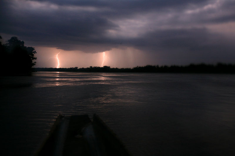Electric storm on Romami River March 23, 2007. Deforestation will also triger the climate and prercipiation change in the region and the world.