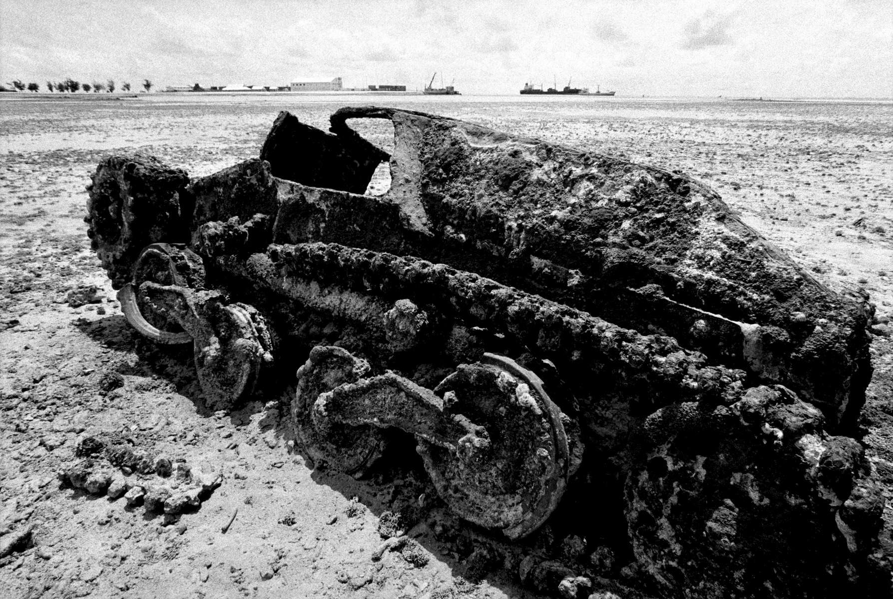 Low tide remnant of the WWII Battle of Tarawa, Republic of Kiribati 2001