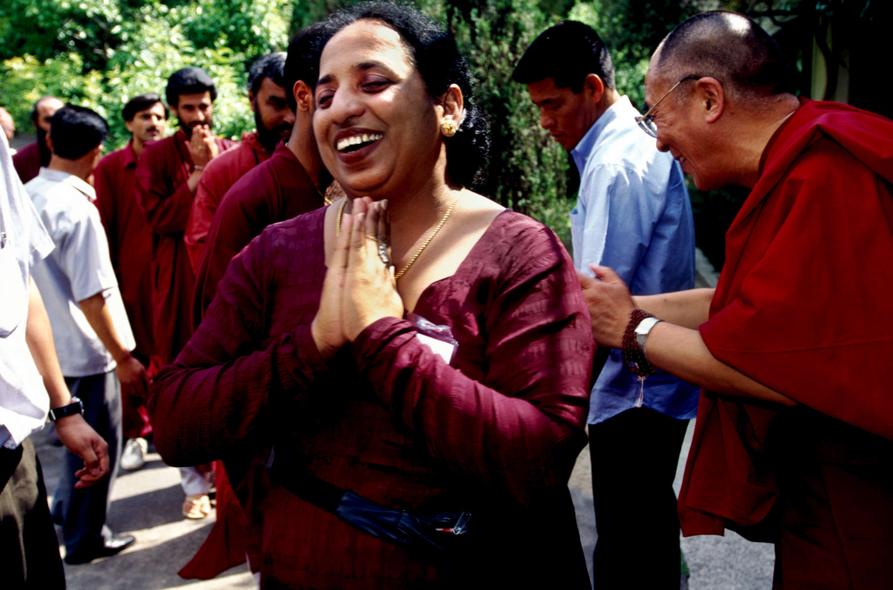 An overjoyed Indian Osho follower after she has been blessed by the Dalai Lama in Mecelod Ganj, India 1998