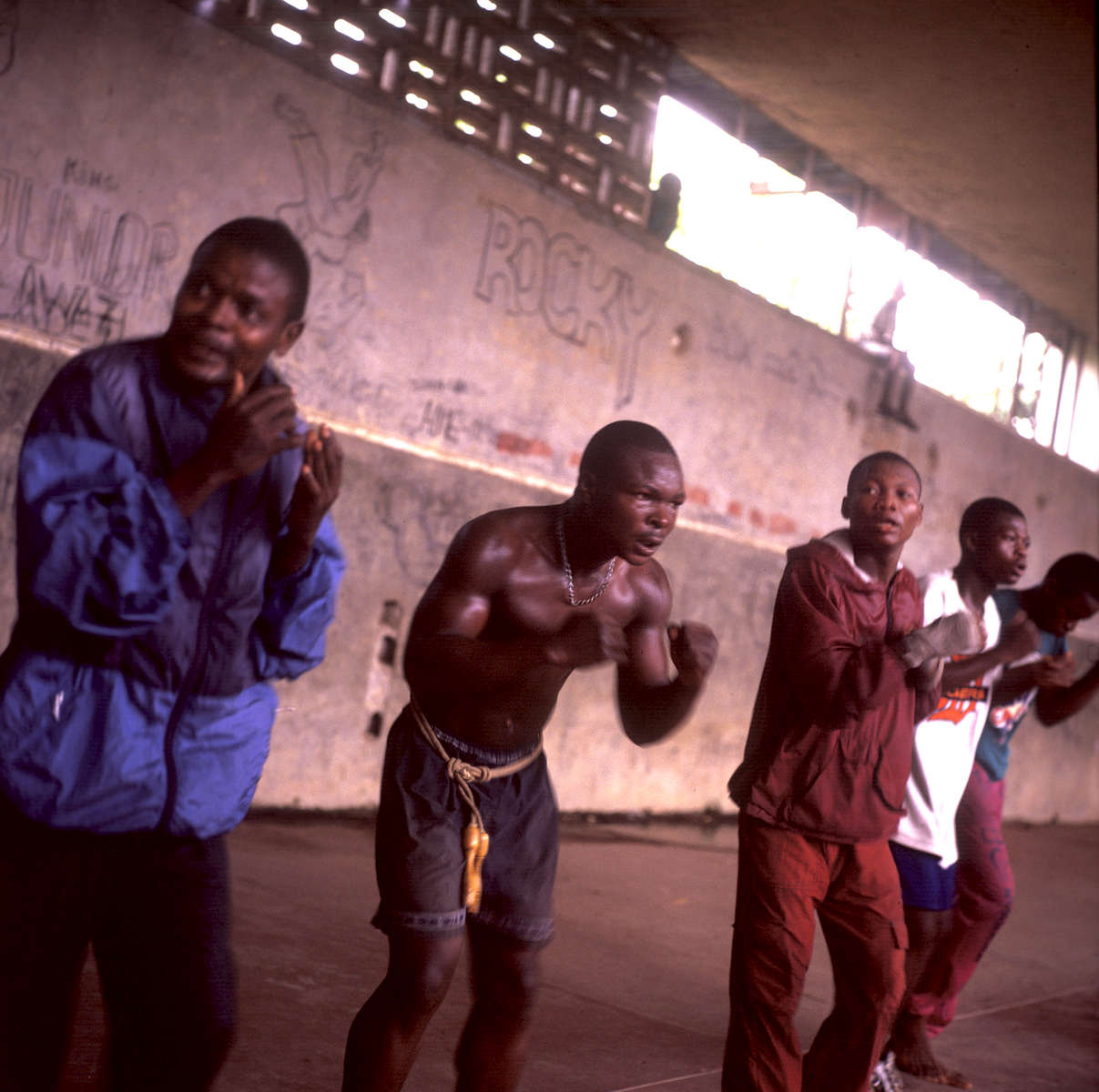 Congolese youth learning how to box in Kisangani, DRCongo