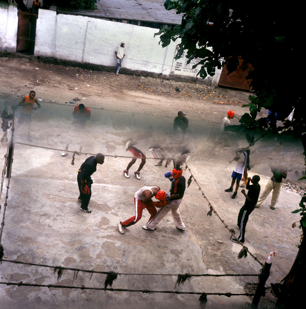 Ever since Muhammed Ali victoriously fought George Foreman in 1974 in Kinshasa, famed by the documentary {quote}Rumble in the Jungle{quote}, boxing became a national obsession among youth wanting to dream beyond their neighborhood streets...photo taken 30 years later in Kinshasa's Lingwala quartier