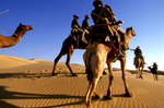 Mounted camel Border Security Force (BSF) patrol along the Indo-Pakistan Thar desert border. 1998