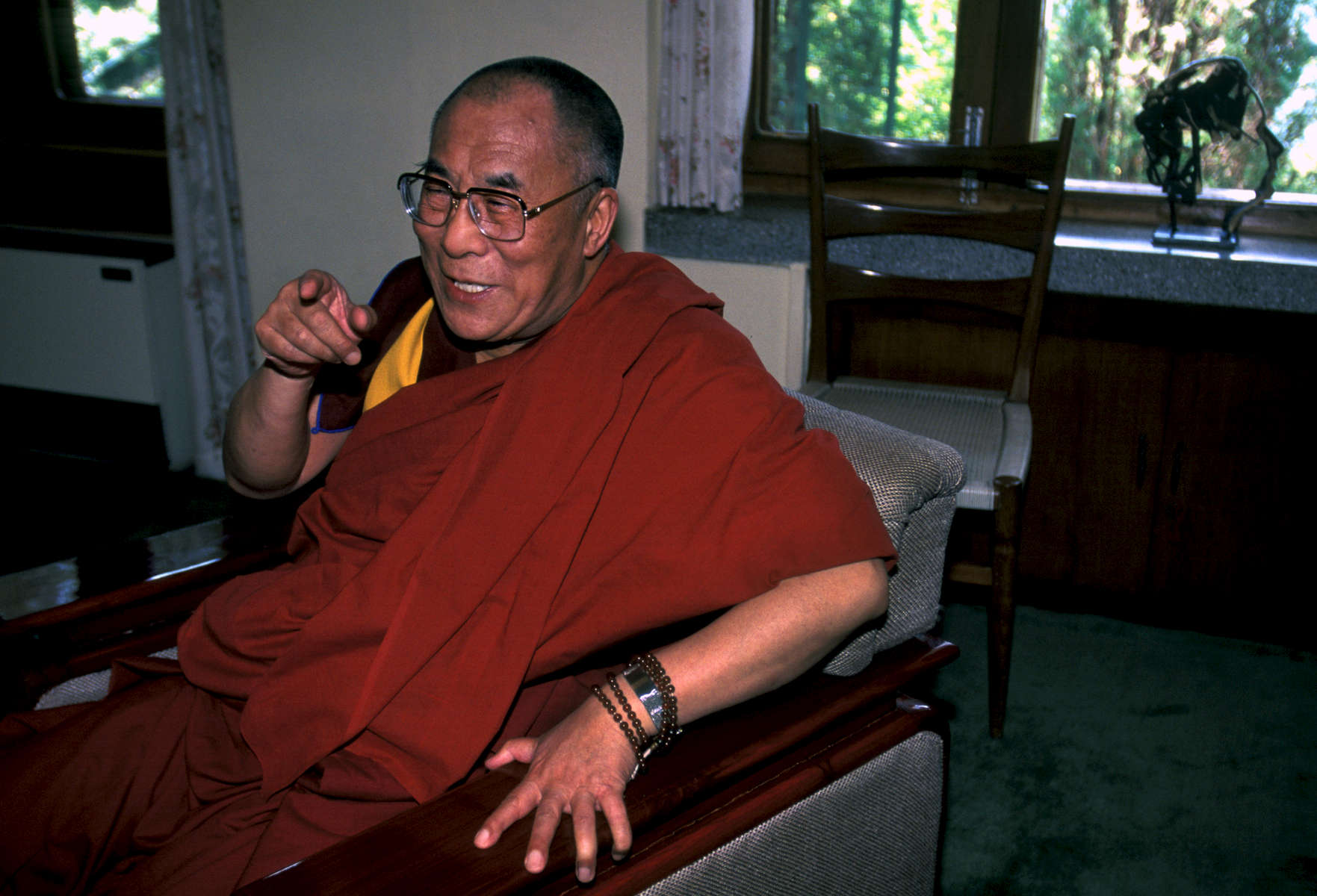 His Holiness, the Dalai Lama, in his exiled office at Mecleod Ganj, India 1998